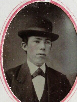 Antique Tintype Photo Nice Portrait Of A Billy The Kid Clone Wearing A Nice Hat
