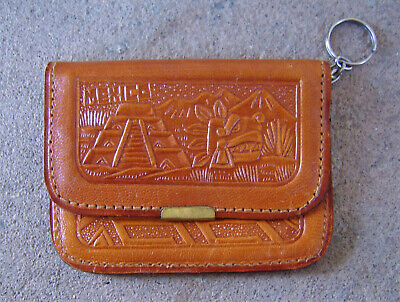 Leather Zippered COIN PURSE with Mirror and Key Ring, From MEXICO