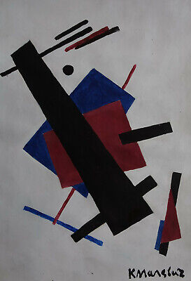 Fine Russian Abstract Futurism Cubism original painting Signed, Bauhaus art