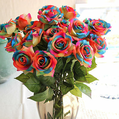 Artificial Real Touch Silk Flowers Rose Bunch Wedding Home Grave Outdoor Good