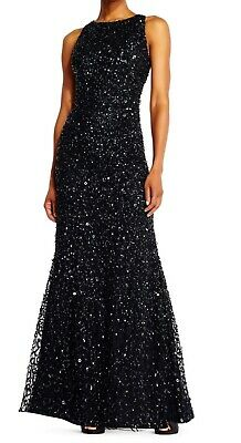 Adrianna Papell Women's Black US Size 0 Sequin-Embellished Gown Dress $289- #296