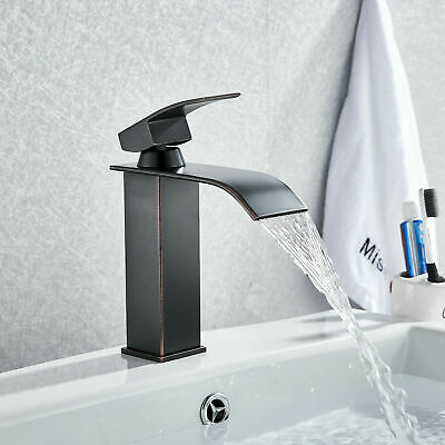 BWE Single Hole/Lever Waterfall Bathroom Sink Faucet Oil Rubbed Bronze Mixer Tap