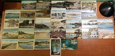 Lot of 30 Vintage Postcards of WATER SCENES, BEACHES, SILVER SPRINGS Early 1900s