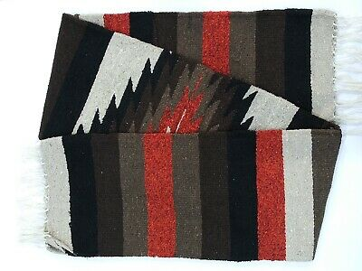 Mexican Blanket Tribal Diamond Design finely knit artisan Handwoven Throw Rug