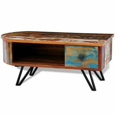 Reclaimed Solid Wood Timber Coffee Table w/ Drawer Storage Iron Pin Legs Antique