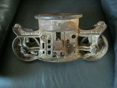 Antique VINTAGE Cast Iron  HAY Trolley PAT'T 1893 Farm BARN PULLEY Carrier