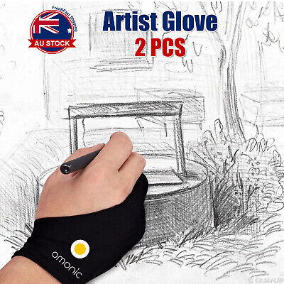2pc Graphic Sketch Drawing Writing Two Finger Tablet Artist Professional Glove D