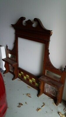 Antique Mantle.  Buffet Hutch.  Timber.  Feature tiles