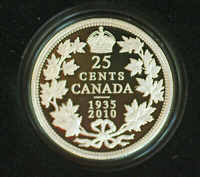 2010 Canada Limited edition silver 25 cent  - from set: 75th anniv of dollar