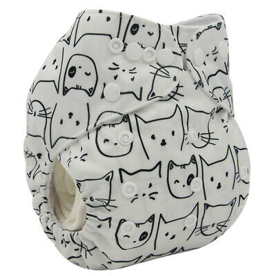 Modern Cloth Reusable Washable Baby Nappy Diaper & Insert Black & White Cats