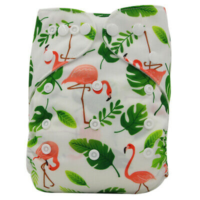 Modern Cloth Reusable Washable Baby Nappy Diaper & Insert Flamingos & Green Palm