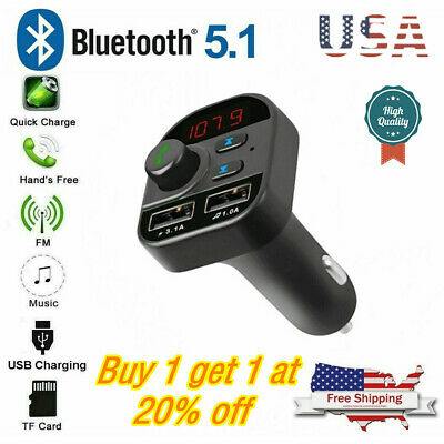 Bluetooth In-Car Wireless FM Transmitter MP3 Radio Adapter Car 2 USB Charger US