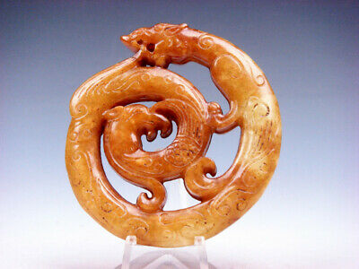 Old Nephrite Jade 2 Sides Carved LARGE Pendant Curly Dragon & Phoenix #08211906