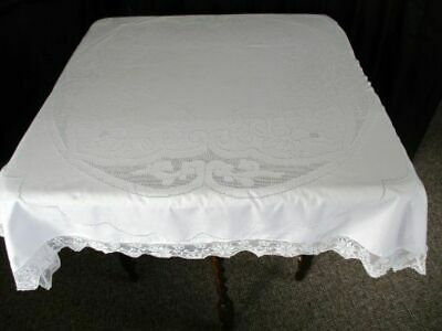 "ANTIQUE TABLECLOTH-ITALIAN HAND MOSAIC PUNCH WORK- 44""sq."