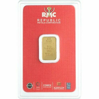 Lingot RMC 2.5 Grammes Or pur 9999 / 2.5 Grams RMC Fine Gold 9999 Bar (New)