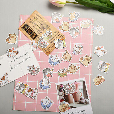56Pcs Autocollants pour scrapbooking Adhésifs Mignion Chats Cartoon Déco DIY