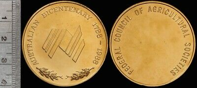 Australia 1988 Bicentenary Gilt Medal Fed Council of Agricultural Societies 38mm
