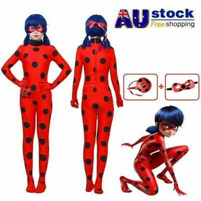 Kids Girls Miraculous Ladybug Jumpsuit Outfits Tight Fancy Dress Cosplay Costume