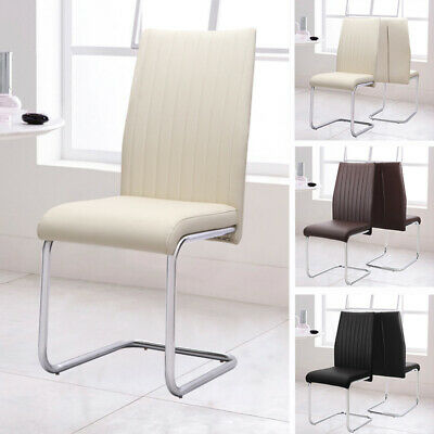 Set of 2 Chairs Upholstery High Back Cantilever Dining Chair Chrome Legs Lounge