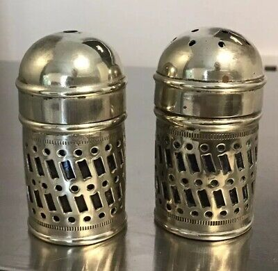 """ANTIQUE 2"""" Silver Plated Salt And Pepper Shakers EPNS CONDIMENT SET GLASS INNERS"""