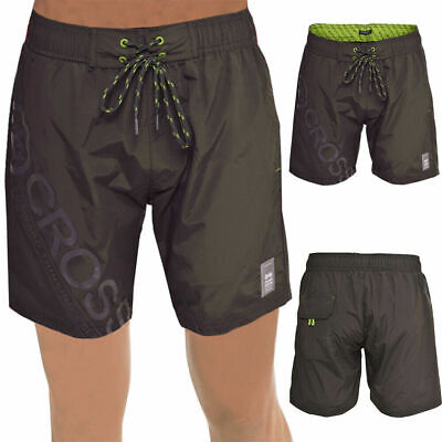 Crosshatch Pacific Mens Magnet Grey Swim Shorts Mesh Lined Swimming Brief Trunks