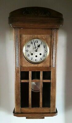 Vintage Oak Large Wall Clock Key Wind up Winchester Chimes