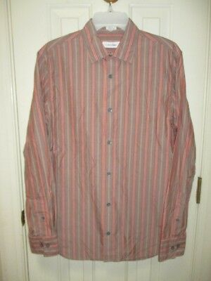 # Calvin Klein Striped Gray Red Blue Orange Long Sleeve Shirt Mens S Small