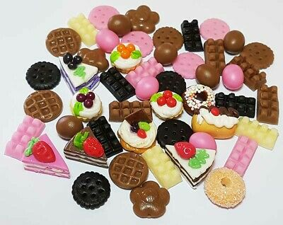 50-Piece Dollhouse Miniature Mixed Food Set * Doll Mini Cakes Cookies Candy z5