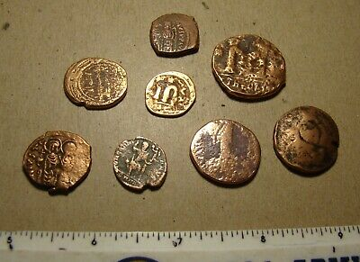 Lot ancient Byzantine coins, 8 pieces metal detector - interesting !!