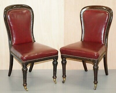 Pair Of Mahogany Framed Oxblood Leather Medallion Back Side Occasional Chairs