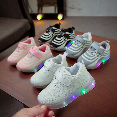 Toddler Kids Boys Girls LED Light Up Sneakers Baby Casual Luminous Shoes Trainer