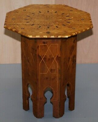 Circa 1900 Islamic Marquetry Inlaid Walnut Octagonal Side End Lamp Wine Table