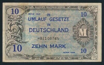 Germany: ALLIED OCCUPATION WWII 1944 10 Mark. Pick 194d NVF - Cat VF $27
