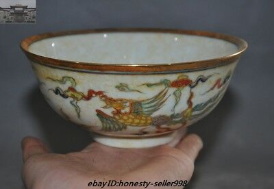 China Ming Dynasty Chenghua Marked Wucai Old porcelain gilt Phoenix Bowl Cup