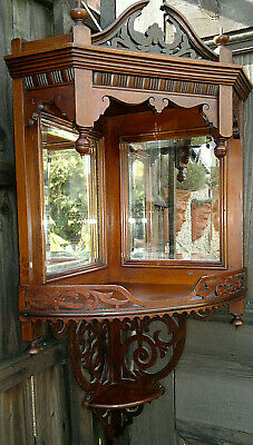 Antique Victorian Mahogany Fretwork Mirrored Corner Shelf Display