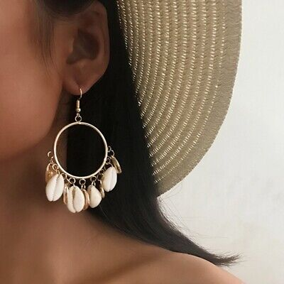 1 Pair Beach Wind Shell Big Ring Earrings Vintage National Wind Eardrop Gift US