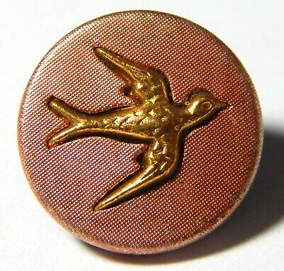 """SWEET ANTIQUE 19th CENTURY RED TINTED BRASS BUTTON w/REALISTIC GILT """"SWALLOW"""""""