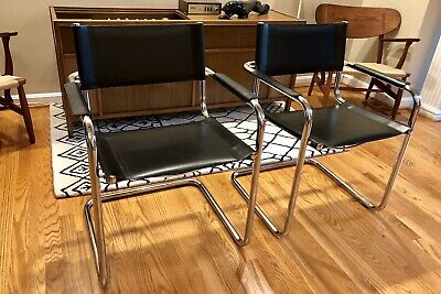 Pair of Mart Stam Cantilever Leather Arm Chairs Vintage Midcentury Bauhaus