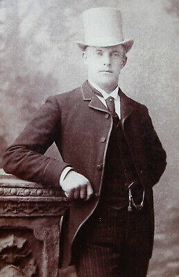 Cabinet Photo Of A Handsome Dapper Young Man Wearing Nice Top Hat Omaha Nebraska