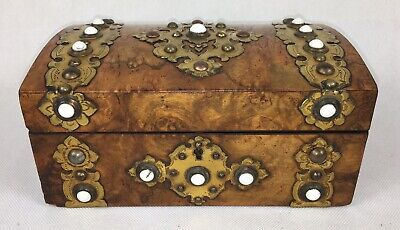 Antique Dome Top, Burr Walnut - Document / Jewellery Box, With Brass Strap Work