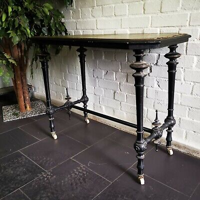 Antique Aesthetic Movement Card Library Table Ebonised with Walnut & Brass Inlay