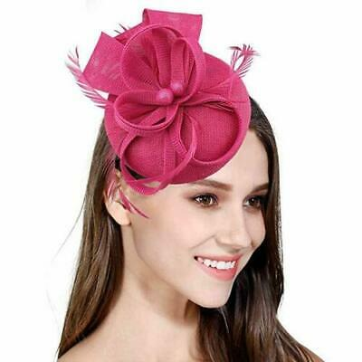 Hatinator Pillbox Hat Feathers Round Fascinator Hair Clip Headband Wedding Party
