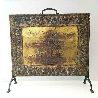 Vintage Brass Fire Screen Guard Embossed Ship Theme