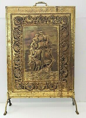 Vintage Brass Fire Screen Guard Embossed Ship Maritime Theme