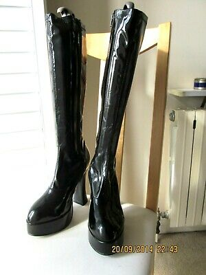 Brand new black PVC knee platform 70's boots by Fever UK 6 / 7