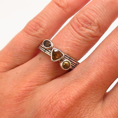 925 Sterling Smoky Quartz Citrine & Pearl Set Of 3 Stackable Rings Of Size 5 3/4