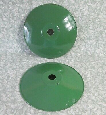 EXCELLENT PAIR Vintage French GREEN ENAMEL COOLIE LIGHT SHADES