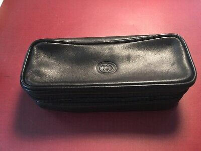 Vintage Gucci Black Travel Jewelry Case Clutch Roll