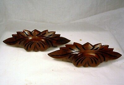 2 Antique Hand Carved Wood Drawer Pulls 8.25 Inches Long