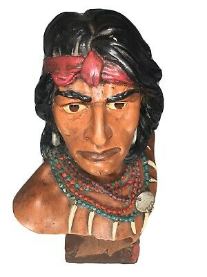 Vtg Indian Chief Head Bust Native American Western American